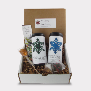 2 Can Tartan Snowflake Tea Gift Box Set with Honey Lollipop Stirrer for Christmas and other Holidays