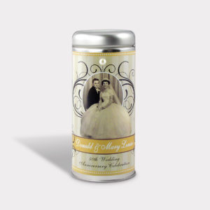 Customizable Private Label Healthy 50th Anniversary Pearl Tea in an Easy-Open Silver Tall Tin with 12 Pyramid Tea Sachets in a flavor of your choice