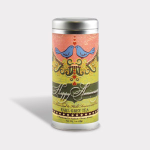 Customizable Private Label Healthy Love Birds Anniversary Tea in an Easy-Open Silver Tall Tin with 12 Pyramid Tea Sachets in a flavor of your choice