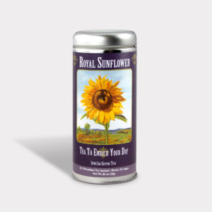 Customizable Private Label All-Natural Healthy Art Tea in an Easy-Open Silver Tall Tin with 12 Pyramid Tea Sachets in a flavor of your choice