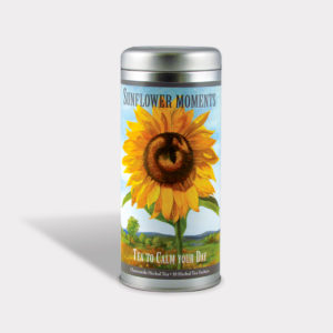 Customizable Private Label All-Natural Healthy Art Sunflower Tea in an Easy-Open Silver Tall Tin with 12 Pyramid Tea Sachets in a flavor of your choice