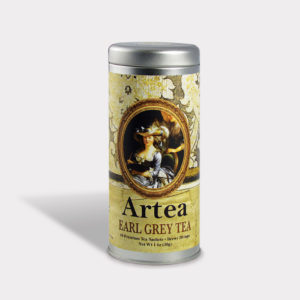 Customizable Private Label All-Natural Healthy Art Portrait Tea in an Easy-Open Silver Tall Tin with 12 Pyramid Tea Sachets in a flavor of your choice