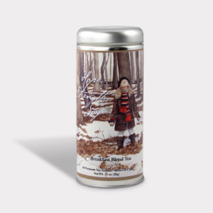 Customizable Private Label All-Natural Healthy Art Woodlands Tea in an Easy-Open Silver Tall Tin with 12 Pyramid Tea Sachets in a flavor of your choice
