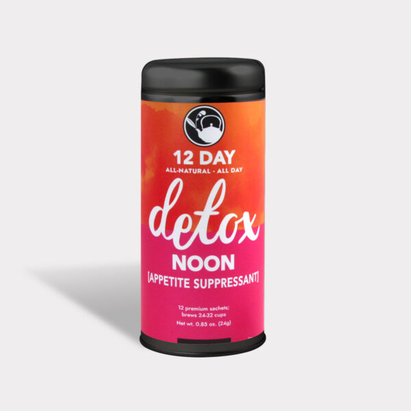 Customizable Private Label All-Natural Healthy 12 Day Detox Noon Appetite Surpressant Tea in an Easy-Open Silver Tall Tin with 12 Pyramid Tea Sachets