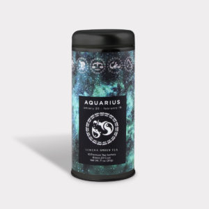 Customizable Private Label Healthy Astrology Series Aquarius Tea in an Easy-Open Silver Tall Tin with 12 Pyramid Tea Sachets in a flavor of your choice