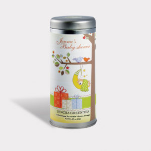 Customizable Private Label All-Natural Healthy Baby Shower Tea in an Easy-Open Silver Tall Tin with 12 Pyramid Tea Sachets in a flavor of your choice