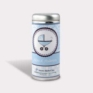 Customizable Healthy Baby Shower Tea in an Easy-Open Silver Tall Tin with Pyramid Tea Sachets in a flavor of your choice