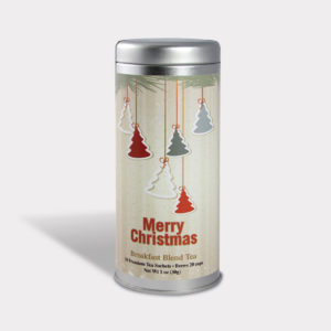 Customizable Private Label All-Natural Healthy Holiday Christmas Tree Ornaments in an Easy-Open Silver Tall Tin with 12 Pyramid Tea Sachets in a flavor of your choice