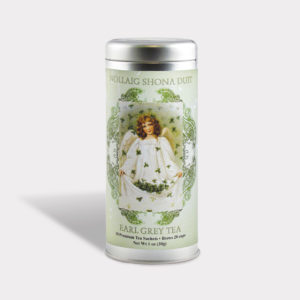 Customizable Private Label All-Natural Healthy Holiday Irish Christmas Angel in an Easy-Open Silver Tall Tin with 12 Pyramid Tea Sachets in a flavor of your choice
