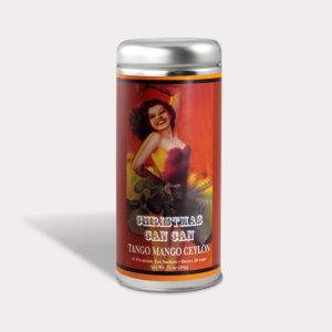 Customizable Private Label All-Natural Healthy Holiday Christmas Can Can in an Easy-Open Silver Tall Tin with 12 Pyramid Tea Sachets in a flavor of your choice