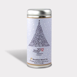 Customizable Private Label All-Natural Healthy Holiday Christmas Tea in an Easy-Open Silver Tall Tin with 12 Pyramid Tea Sachets in a flavor of your choice