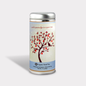 Customizable Private Label All-Natural Healthy Holiday Christmas A Patridge in a Pear Tree in an Easy-Open Silver Tall Tin with 12 Pyramid Tea Sachets in a flavor of your choice