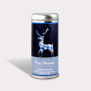 Customizable Private Label All-Natural Healthy Holiday Christmas Blue Geometric Reindeer in an Easy-Open Silver Tall Tin with 12 Pyramid Tea Sachets in a flavor of your choice