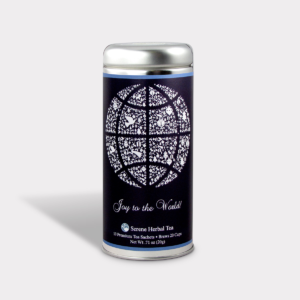 Customizable Private Label All-Natural Healthy Holiday Christmas Joy to the World Globe in an Easy-Open Silver Tall Tin with 12 Pyramid Tea Sachets in a flavor of your choice