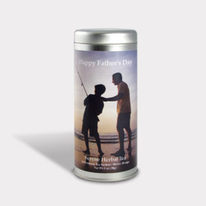 Customizable Specialty Blend Fishing Tea Gift in an Easy-Open Silver Tall Tin with 12 Pyramid Tea Sachets for Father's Day, Valentine's Day, and Birthdays