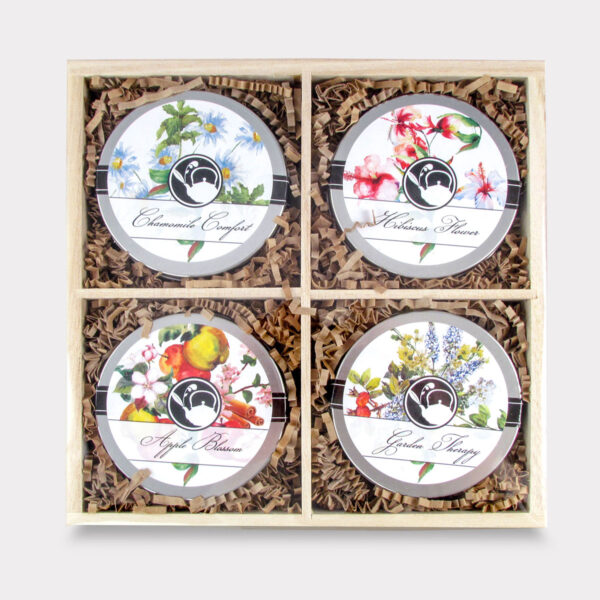 Refreshing and Healthy Caffeine-Free Wooden Floral Tea Mini Tin Variety Box