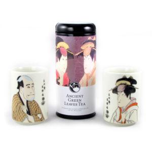 Sharaku Portraits Green Tea and Teacups Gift Set
