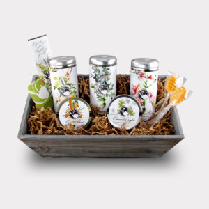 Healthy Customizable Large Floral Tea Gift Basket with 2 Honey Lollipop Stirrers
