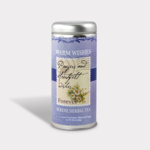 Customizable Private Label All-Natural Healthy Prayers and Heartfelt Wishes Get Well Soon Warm Wishes Tea in an Easy-Open Silver Tall Tin with 12 Pyramid Tea Sachets in a flavor of your choice