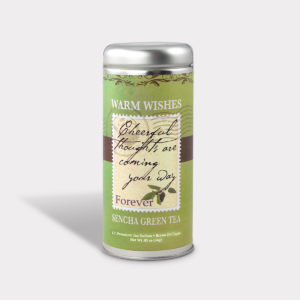 Customizable Private Label All-Natural Healthy Cheerful Thoughts Are Coming Your Way Get Well Soon Warm Wishes Tea in an Easy-Open Silver Tall Tin with 12 Pyramid Tea Sachets in a flavor of your choice