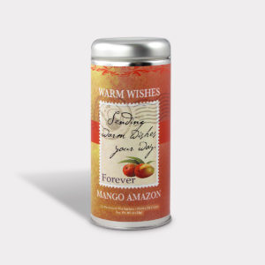 Customizable Private Label All-Natural Healthy Sending Warm Wishes Your Way Get Well Soon Warm Wishes Tea in an Easy-Open Silver Tall Tin with 12 Pyramid Tea Sachets in a flavor of your choice