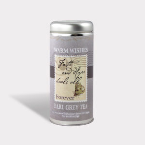 Customizable Private Label All-Natural Healthy Faith and Hope Heals All Get Well Soon Warm Wishes Tea in an Easy-Open Silver Tall Tin with 12 Pyramid Tea Sachets in a flavor of your choice
