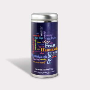 Customizable Private Label All-Natural Healthy Hanukkah Tea in an Easy-Open Silver Tall Tin with 12 Pyramid Tea Sachets in a flavor of your choice