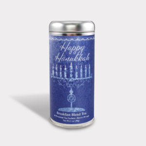 Customizable Private Label All-Natural Healthy Happy Hanukkah 8 Days of Candles Tea in an Easy-Open Silver Tall Tin with 12 Pyramid Tea Sachets in a flavor of your choice