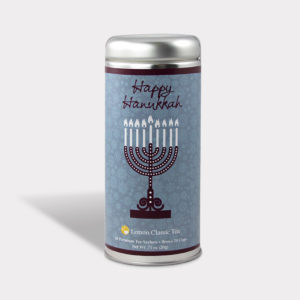 Customizable Private Label All-Natural Healthy Happy Hanukkah Tea in an Easy-Open Silver Tall Tin with 12 Pyramid Tea Sachets in a flavor of your choice