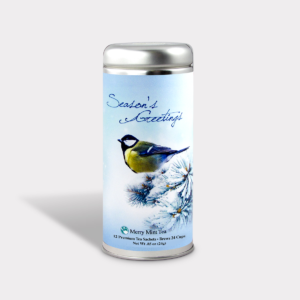 Customizable Private Label All-Natural Healthy Holiday Season's Greetings Blue Bird in an Easy-Open Silver Tall Tin with 12 Pyramid Tea Sachets in a flavor of your choice