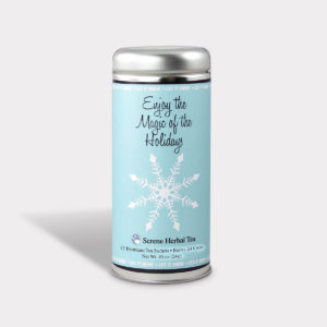 Customizable Private Label All-Natural Healthy Holiday Enjoy the Magic of the Holidays in an Easy-Open Silver Tall Tin with 12 Pyramid Tea Sachets in a flavor of your choice