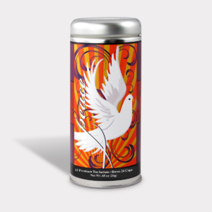 Customizable Private Label All-Natural Healthy Holiday Peace Dove in an Easy-Open Silver Tall Tin with 12 Pyramid Tea Sachets in a flavor of your choice