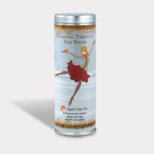 Customizable Private Label All-Natural Healthy Holiday Dashing Through the Snow in an Easy-Open Silver Skinny Tin with Pyramid Tea Sachets in a flavor of your choice