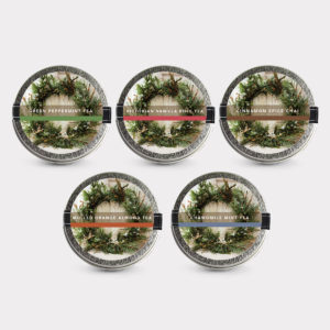 Healthy Customizable 5 Holiday Wreath Mini Tin Tea Variety Set in flavors of your choice