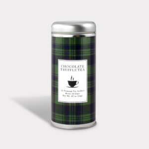 Customizable Private Label All-Natural Healthy Holiday Green Tartan in an Easy-Open Silver Tall Tin with 12 Pyramid Tea Sachets in a flavor of your choice