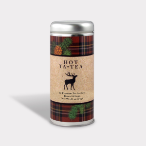 Customizable Private Label All-Natural Healthy Holiday Moose Tartan in an Easy-Open Silver Tall Tin with 12 Pyramid Tea Sachets in a flavor of your choice