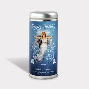 Customizable Holiday Christmas Angel Tall Tin Tea Gift