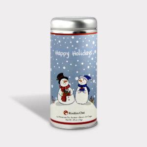 Customizable Holiday Snow Couple Tall Tin Tea Gift