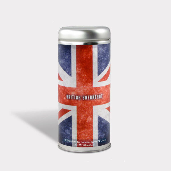 Customizable Private Label Healthy Internationality UK British Breakfast Travel Souvenir Tea in an Easy-Open Silver Tall Tin with 12 Pyramid Tea Sachets in a flavor of your choice