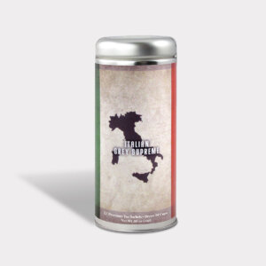 Customizable Private Label Healthy Internationality Italy Earl Grey Supreme Travel Souvenir Tea in an Easy-Open Silver Tall Tin with 12 Pyramid Tea Sachets in a flavor of your choice