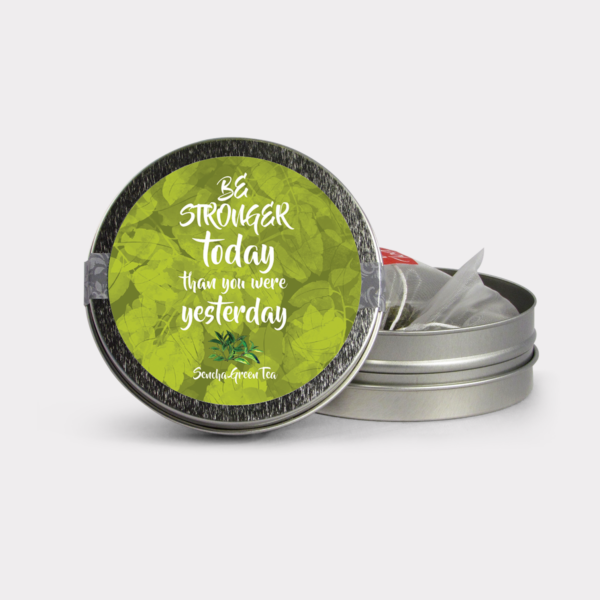 Customizable Private Label All-Natural Healthy Stronger Today Inspirational Tea in an Easy-Open Silver Mini Tin with Pyramid Tea Sachets in a flavor of your choice