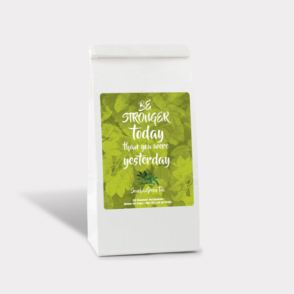 Customizable Private Label All-Natural Healthy Stronger Today Inspirational Tea in an Easy-Open Refill Bag with Pyramid Tea Sachets in a flavor of your choice