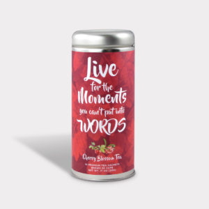 Customizable Private Label All-Natural Healthy Live for Moments Inspirational Tea in an Easy-Open Silver Tall Tin with 12 Pyramid Tea Sachets in a flavor of your choice