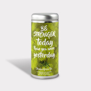 Customizable Private Label All-Natural Healthy Stronger Today Inspirational Tea in an Easy-Open Silver Tall Tin with 12 Pyramid Tea Sachets in a flavor of your choice