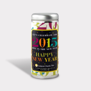 Customizable Private Label All-Natural Healthy Happy New Year Tea in an Easy-Open Silver Tall Tin with 12 Pyramid Tea Sachets in a flavor of your choice
