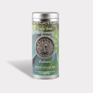 Customizable Private Label Healthy Enjoy Your Retirement Tea in an Easy-Open Silver Tall Tin with 12 Pyramid Tea Sachets in a flavor of your choice