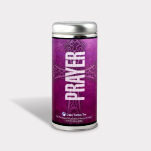 Customizable Private Label All-Natural Healthy Religious Tea in an Easy-Open Silver Tall Tin with 12 Pyramid Tea Sachets in a flavor of your choice