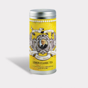 Customizable Private Label Healthy Happy Retirement Tea in an Easy-Open Silver Tall Tin with 12 Pyramid Tea Sachets in a flavor of your choice