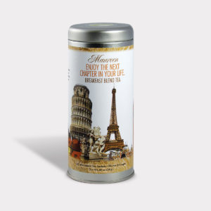 Customizable Private Label Healthy Traveling the World Travel Souvenir Tea in an Easy-Open Silver Tall Tin with 12 Pyramid Tea Sachets in a flavor of your choice