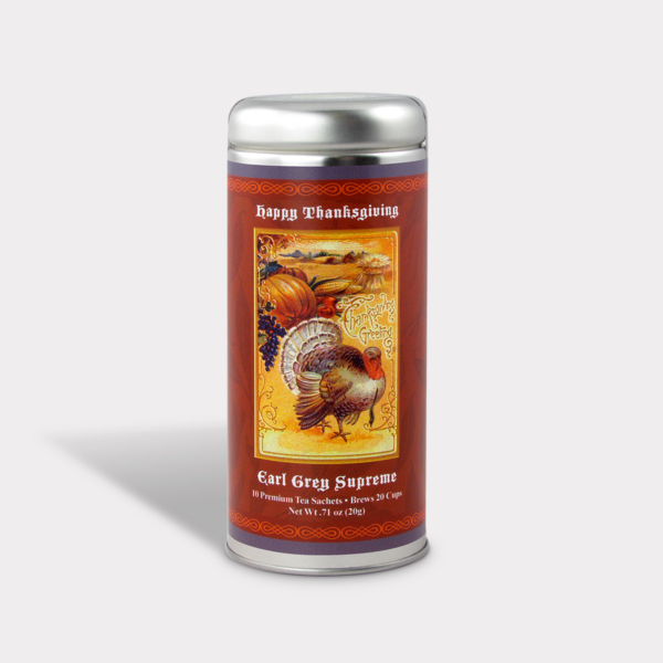 Customizable Private Label All-Natural Healthy Thanksgiving Greetings Tea in an Easy-Open Silver Tall Tin with 12 Pyramid Tea Sachets in a flavor of your choice